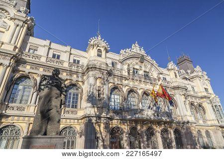 Barcelona,spain-october 15,2012: Architecture, Classic Building, Edificio De La Junta De Obras Del P