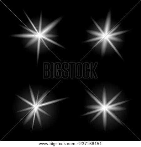 Burst Light Explosion Bright Collection On Dark Black Background. Lamp Bulb Or Star Flash Lights. De