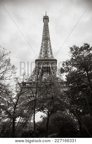 Eiffel Tower, The Most Popular Landmark Of Paris, France. Monochrome Sepia Toned Photo