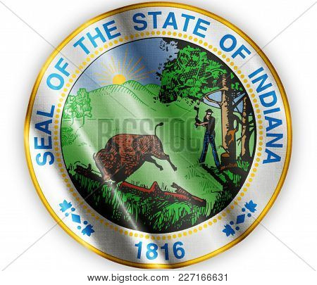 Us State Indiana Seal Textured Proud Country Waving Flag Close
