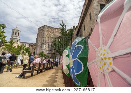 Girona,spain-may 12,2012: Artistic Installation ,city View, Historic Center, Spring Festival Flower,