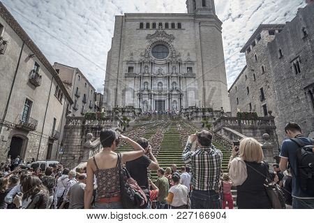 Girona,spain-may 12,2012: People Looking Cathedral In Spring Flower Festival Temps De Flors, Girona,