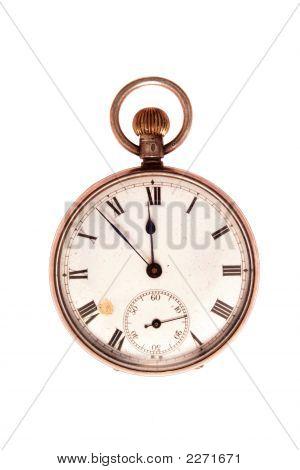Antique Pocket Watch On White
