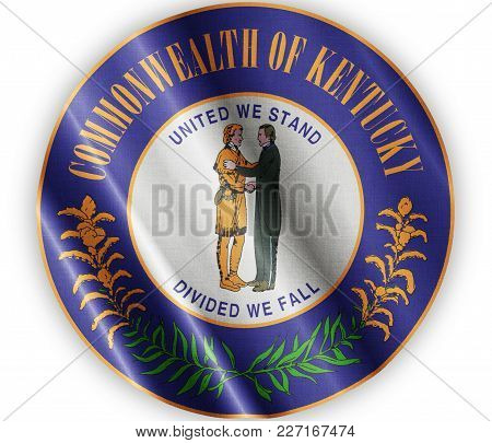 Us State Kentucky Seal Textured Proud Country Waving Flag Close