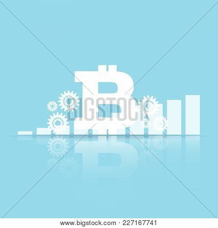Vector Of Bitcoin Sign With Stock Financial Indices. Financial Stock Market In Accounting Market Eco
