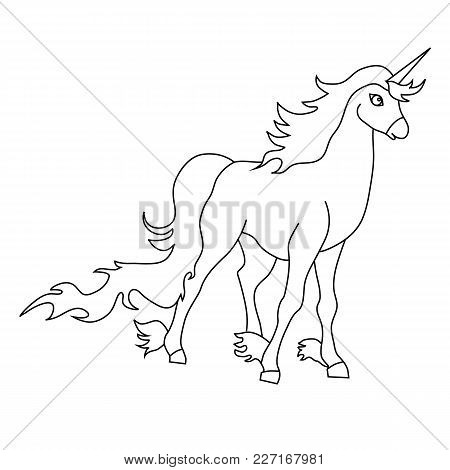 The Outline Of The Unicorn. Vector Image, Thin Lines. Element Of Design, Interface