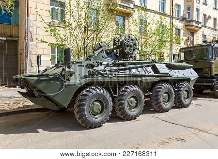 Samara, Russia - May 6, 2017: Wheeled Armored Recovery Vehicle Arv-k Based On The Btr-80 At The City
