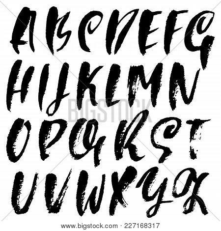 Handdrawn Dry Brush Font. Modern Brush Lettering. Grunge Style Alphabet. Vector Illustration