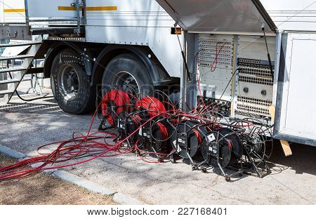 Samara, Russia - May 6, 2017: Different Wires Of The Mobile Broadcast Television Station