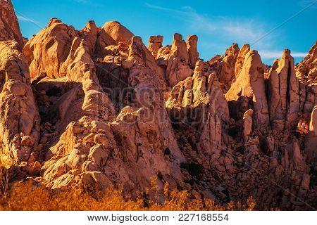 California Desert Rock Formation During Sunset. Mojave Desert. United States Of America.