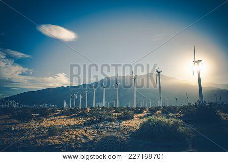 California Renewable Energy. Wind Energy Power Plant. Coachella Valley, United States of America. poster