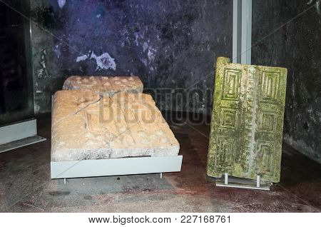 Fragments Of Doors On Stands In The Interior Of A Necropolis In The Bet She'arim National Park. Kiri