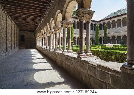 Ripoll,spain-may 14,2012: Cloister Monastery Benedictine Romanesque Style, Monestir Santa Maria De R