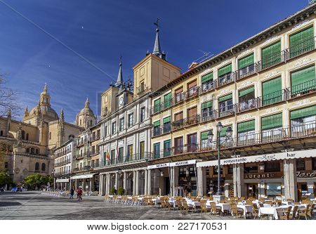 Segovia,spain-november 20,2012: Main Square, Plaza Mayor, Segovia.