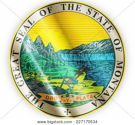 Us State Montana Seal Textured Proud Country Waving Flag Close