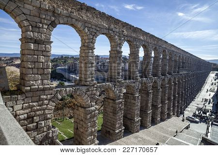 Segovia,spain-november 20,2012: Aqueduct, Roman Construction, Acueducto Of  Segovia, Castilla-leon,s