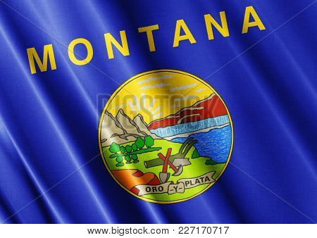 Us State Montana Textured Proud Country Waving Flag Close