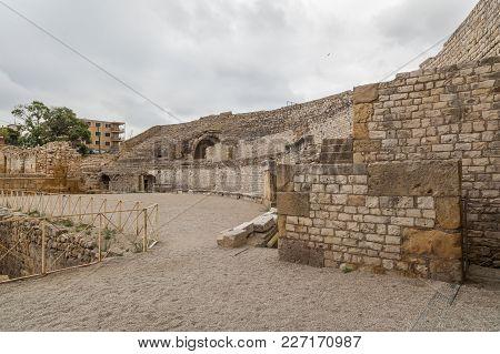 Tarragona,spain-july 14,2012: Roman Amphitheatre, Unesco World Heritage Site, Roman Heritage Legacy,