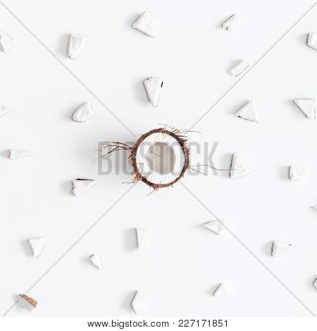 Coconut Pattern. Fresh Coconuts On White Background. Flat Lay, Top View, Square