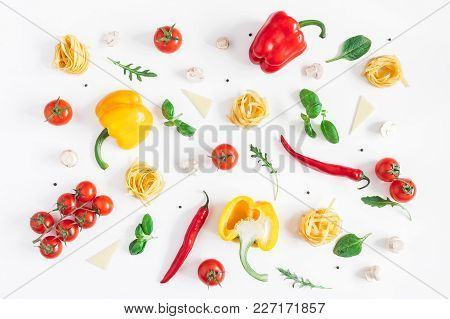 Ingredients For Cooking Pasta On White Background. Fettuccine, Fresh Vegetables, Cheese, Mushrooms,