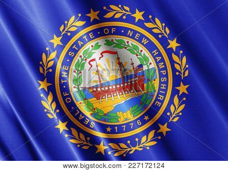Us State New Hampshire Textured Proud Country Waving Flag Close