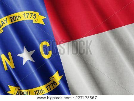 Us State North Carolina Textured Proud Country Waving Flag Close