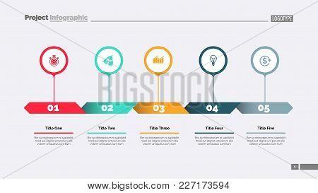 Five Options Process Chart Slide Template. Business Data. Strategy, Diagram, Design. Creative Concep