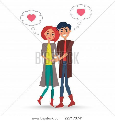 Couple In Love Boy And Girl Vector Illustration Isolated On White. Lovers Dreaming About Eternal Rel