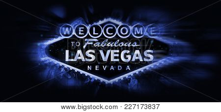 Las Vegas Welcome Sign Conceptual Illustration. Blue Glowing Famous Vegas Strip Sign On Solid Black