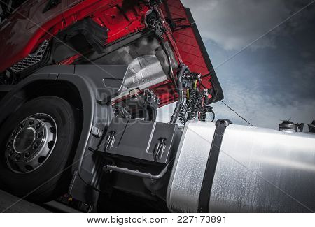 Maintenance Of Semi Truck. Modern Euro Truck Tractor Oil And Filters Changing. Heavy Transportation