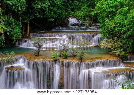 Huai Mae Kamin Waterfall In Kanchanaburi Thailand