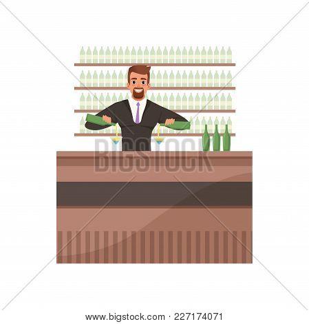 Cheerful Bartender Preparing Cocktails At The Bar Counter, Barman Character At Work Cartoon Vector I
