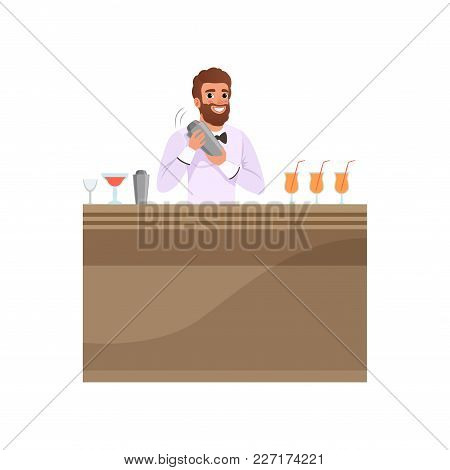 Cheerful Bartender Mixing A Cocktail Drink In Shaker At The Bar Counter, Barman Character At Work Ca