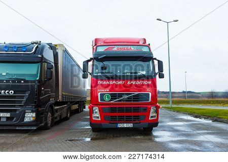 Prague, Czech Republic - December 29, 2017: The Colorful Trucks Is Parked Near The Gas Station At Pr