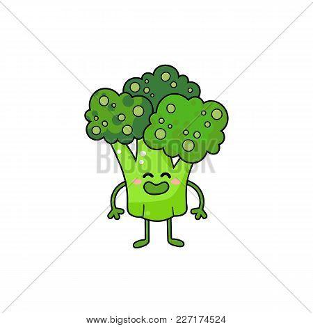 Broccoli Vector Doodle Icon. Cute Green Vegetable Personage.