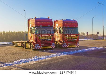 Prague, Czech Republic - December 30, 2017: The Colorful Trucks Is Parked Near The Gas Station At Pr