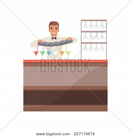 Cheerful Bartender Pouring Alcoholic Cocktails At The Bar Counter, Barman Character At Work Cartoon