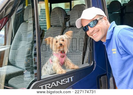 Victoria, Malta - 30 October 2017: Driver With His Dog On A Bus At Victoria On Gozo Island, Malta