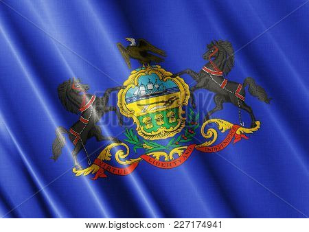 Us State Pennsylvania Textured Proud Country Waving Flag Close