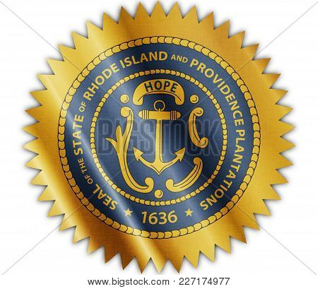 Us State Rhode Island Seal Textured Proud Country Waving Flag Close