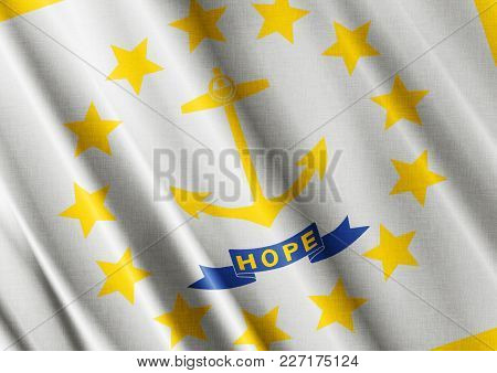 Us State Rhode Island Textured Proud Country Waving Flag Close