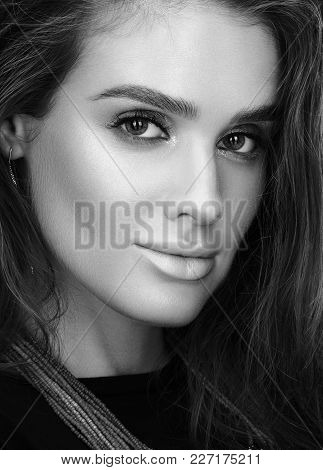 Black And White Beauty Closeup Portrait Of Beautiful Young Woman With Wet Hair And Professional Make