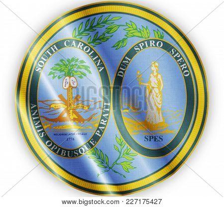 Us State South Carolina Seal Textured Proud Country Waving Flag Close