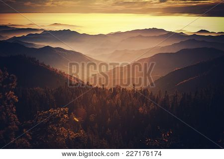 Scenic Sunset In The California Sierra Nevada Mountains. Photo Taken From Sequoia National Park. Cal