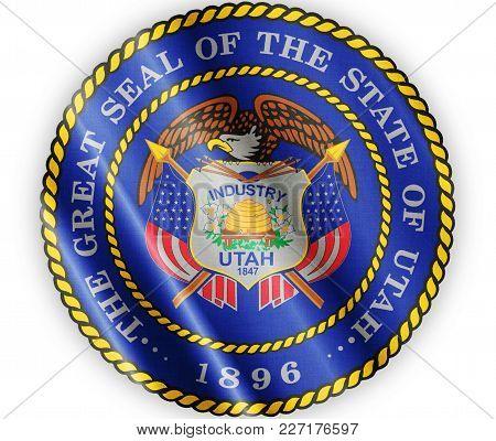 Us State Utah Seal Textured Proud Country Waving Flag Close