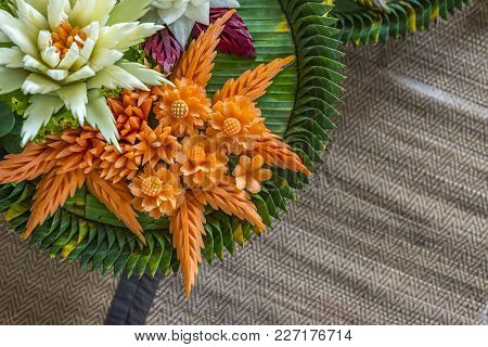 Closeup Artificial Flowers Which Made From Vegetables