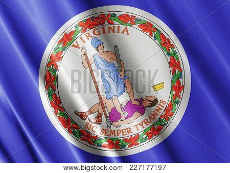 Us State Virginia Textured Proud Country Waving Flag Close