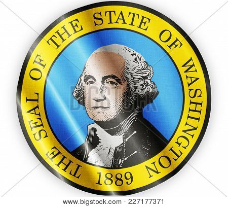 Us State Washington Seal Textured Proud Country Waving Flag Close