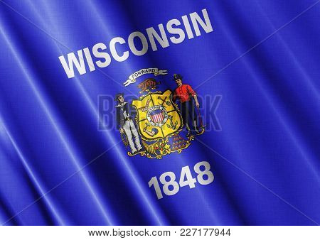 Us State Wisconsin Textured Proud Country Waving Flag Close
