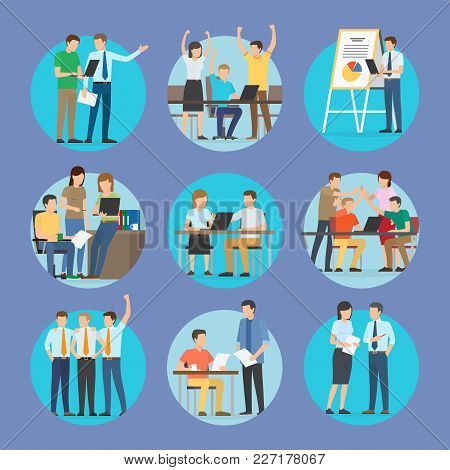 Start Up People Set Of Posters, Workers And Teamwork, Conference And Meeting Of Businessman, Whitebo